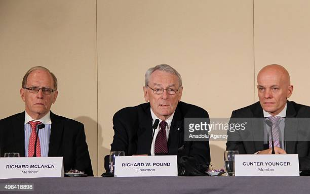 Former World AntiDoping Agency President and chairman of the WADA independent commission Richard W Pound gives a speech during the press conference...