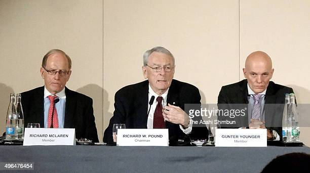 Former World AntiDoping Agency President and chairman of the WADA independent commission Richard W Pound speaks during a press conference on November...