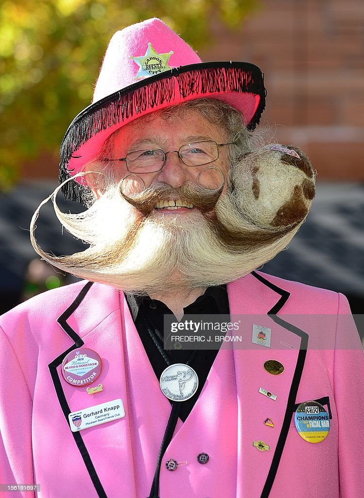 Former World Beard Champion, Gerhard Knapp, from Germany, poses ahead of competition at the third annual National Beard and Moustache Championships in Las Vegas, Nevada on November 11, 2012. AFP PHOTO / Frederic J. BROWN