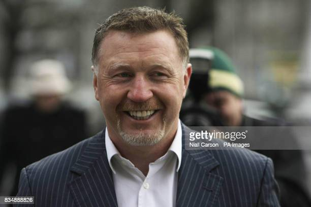 Former world boxing champion Steve Collins arrives at the four courts in Dublin accused of punching a security man so hard he fractured two teeth