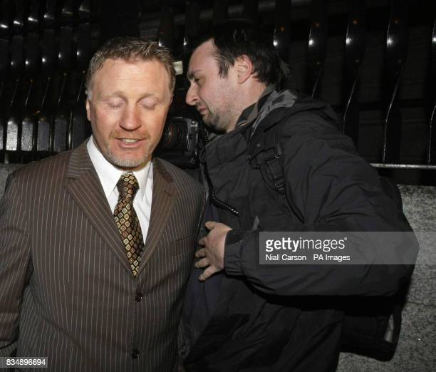 Former world boxing champion Steve Collins leaves the Four Courts in Dublin this evening after a jury failed to reach a verdict on whether he...