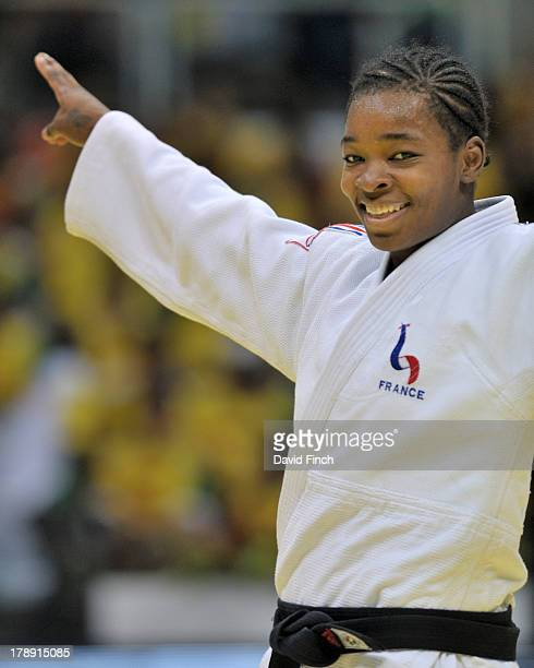 Former World champion Audrey Tcheumeo of France celebrates winning the u78kgs bronze medal during the Rio World Judo Championships on Day 5 at the...
