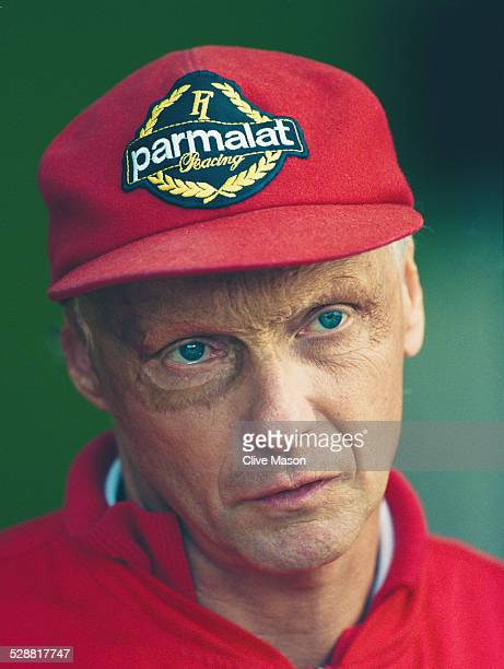 Former World Champion Niki Lauda of Austria terchnical advisor for the Scuderia Ferrari team at the British Grand Prix on16th July 1995 at the...