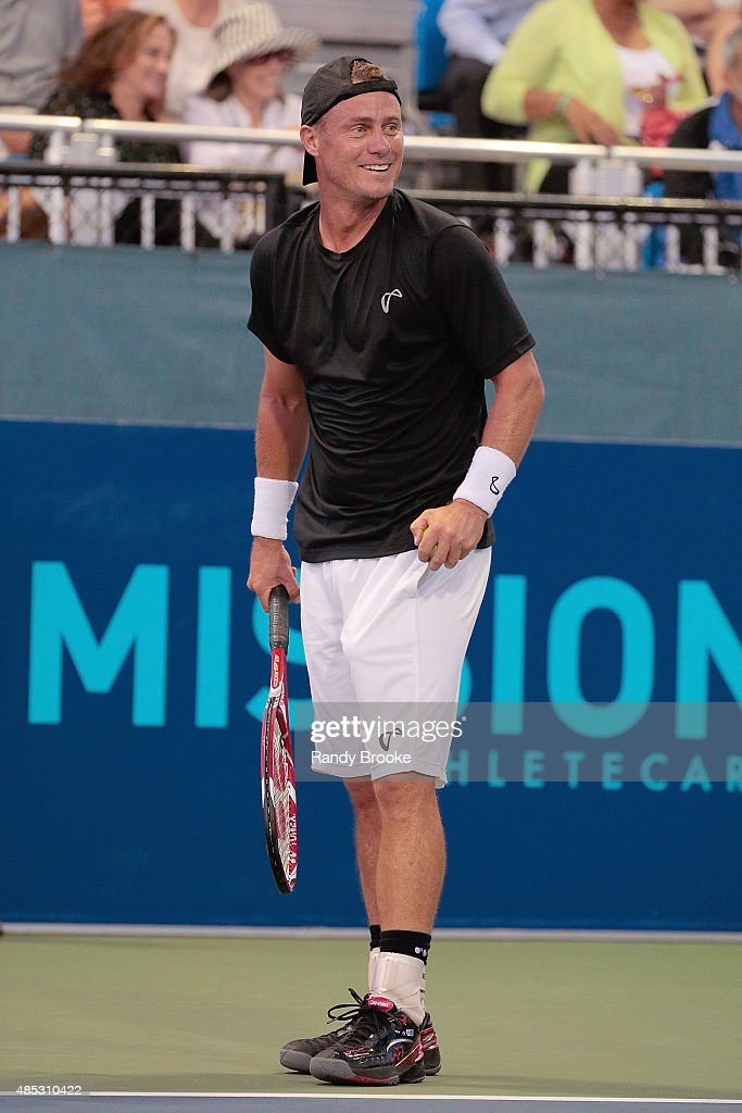 Former World No. 1 Lleyton Hewitt on the court during the Johnny Mac Tennis Project 2015 Benefit Matches at Randall's Island on August 26, 2015 in New York City.
