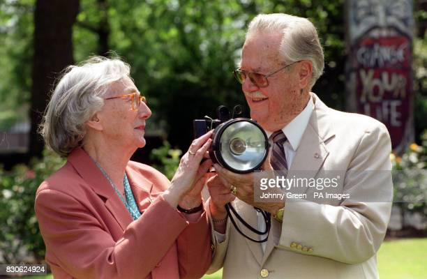 Former Wren Stephanie Batstone and former US signalman Jack Campbell hold an Aldis lamp like the one they used to communicate in Morse by during the...