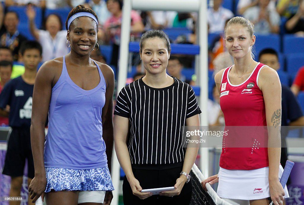 Former WTA player Li Na Venus Williams of USA Karolina Pliskova of Czech Republic pose for photo before the final match on day 7 of Huajin Securities...