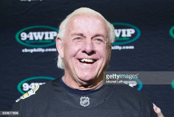 Former WWE champion Ric Flair similes prior to the start of Wing Bowl 25 at the Wells Fargo Center on February 3 2017 in Philadelphia Pennsylvania