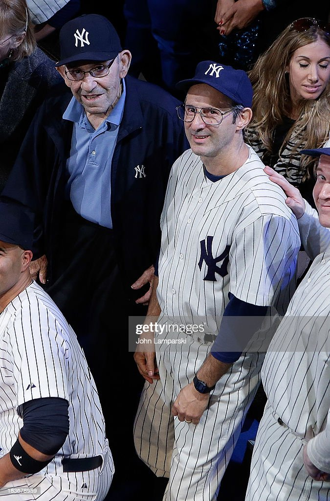 Former Yankees manager and player <a gi-track='captionPersonalityLinkClicked' href=/galleries/search?phrase=Yogi+Berra&family=editorial&specificpeople=94270 ng-click='$event.stopPropagation()'>Yogi Berra</a> and actor Richard Topol attend at Primary Stages on October 8, 2013 in New York City.