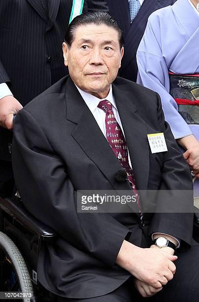 Former Yokozuna sumo grand champion Taiho whose real name is Koki Naya attends the spring garden party hosted by Emperor Akihito at Akasaka Palace on...