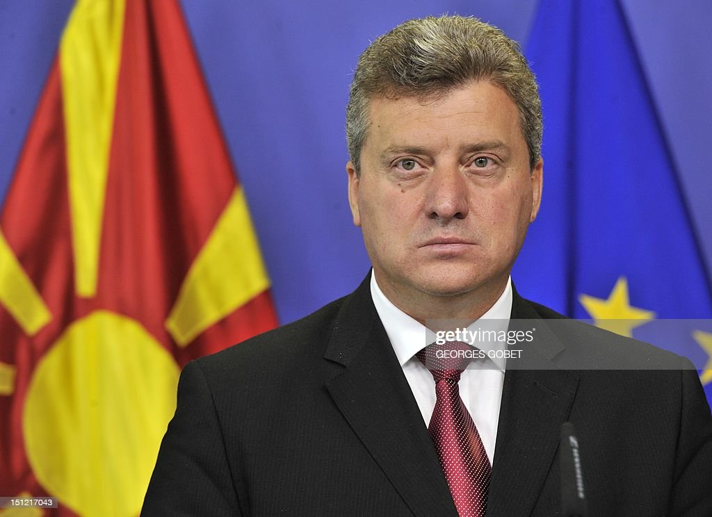 Former Yugoslav Republic of Macedonia (FYROM) President <a gi-track='captionPersonalityLinkClicked' href=/galleries/search?phrase=Gjorge+Ivanov+-+President&family=editorial&specificpeople=12777955 ng-click='$event.stopPropagation()'>Gjorge Ivanov</a> and EU enlargement commissioner give a press conference on September 4, 2012 after their talks at EU headquarters in Brussels. Macedonia was granted EU candidate status in 2005, but the start of the accession talks has been blocked ever since by Greece due to the name row. Athens and Skopje have been at loggerheads over the right to the name Macedonia since the former Yugoslav republic proclaimed independence in 1991, as a northern Greek province has the same name.