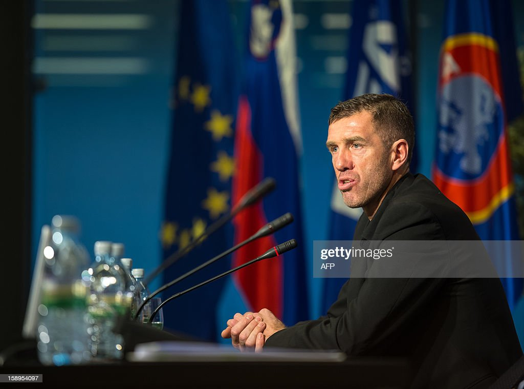 Former Yugoslavian international Srecko Katanec speaks during a press conference as he officially become today Slovenian national football team's coach for the second time on January 4, 2013 in Brdo. Katanec previously coached Slovenia between 1998 and 2002, taking the former Yugoslav republic to the final stages of the 2000 European Championship and the 2002 World Cup. AFP PHOTO / JURE MAKOVEC