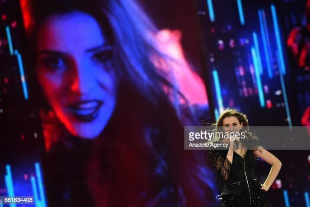 Former Yugoslavian Republic of Macedonia's Jana Burceska performs the song 'Dance Alone' during the second semifinal dress rehearsal of Eurovision...