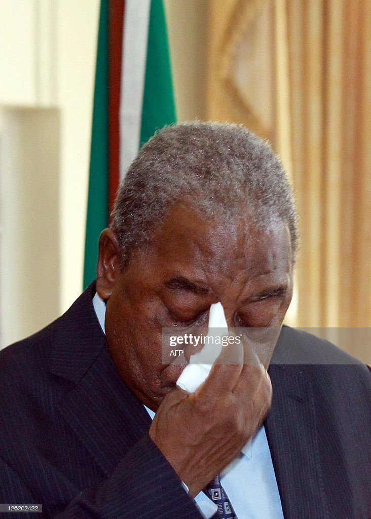 Former Zambian President Rupiah Banda reacts after he addressed journalists at the State House where he accepted being deafeted by new President...