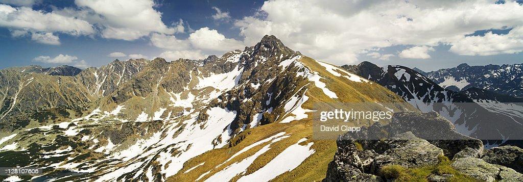 Formidable Tatra Mountains, looking towards Swinica at Kasprowy Wierch, near Zakopane on Slovakian border, Poland, May 2008 : Stock Photo