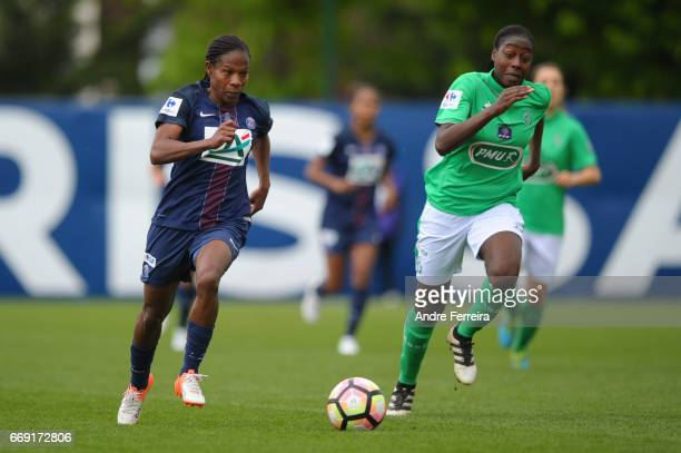 Formiga Miraildes Maciel Mota of PSG and Teninsoun Sissoko of Saint Etienne during the women's National Cup match between Paris Saint Germain PSG and...