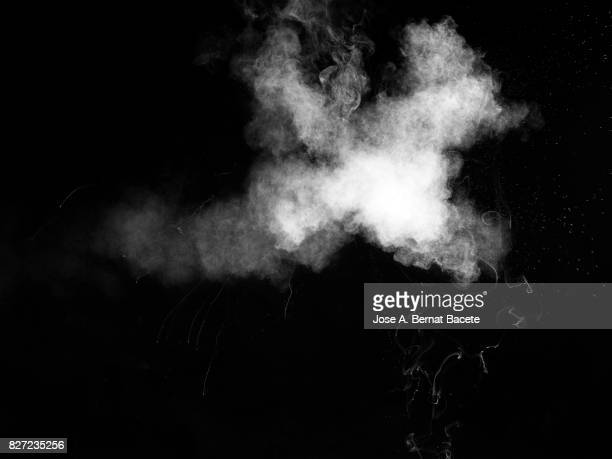 Forms and textures of an explosion of a powder of colors gray an white on a black background