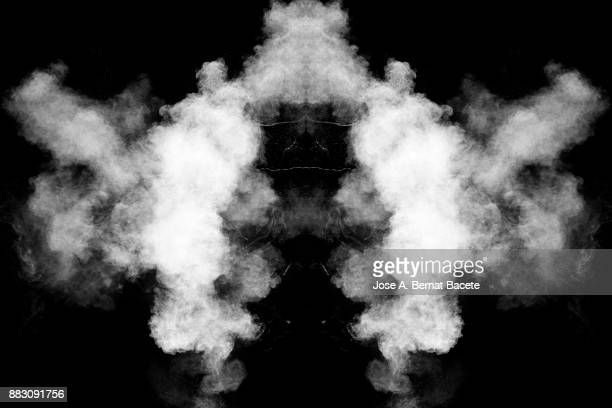 Forms and textures of an explosion of smoke and powder of white color on a  black background.