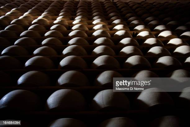 Forms of Grana Padano in aging warehouses of Parmesan and Grana Padano on January 01 2012 in Fiorenzuola d'Arda Italy The aging warehouses has a...