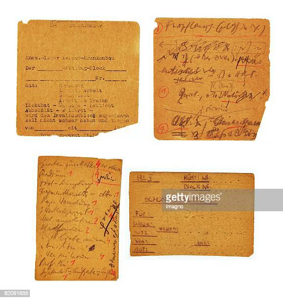 Forms stolen from the office of the Dachau concentration camp on the reverse side Frankl's notes to reconstruct the manuscript of 'The Doctor and the...