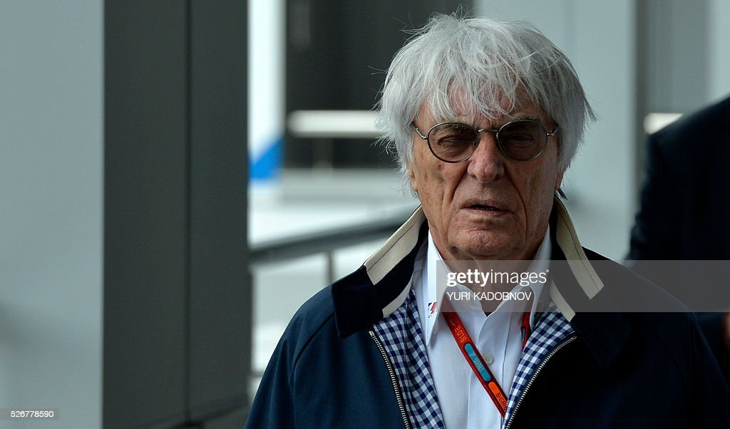Formula 1 boss Bernie Ecclestone walks in the paddock prior to the Formula One Russian Grand Prix at the Sochi Autodrom circuit on May 1, 2016. / AFP / YURI