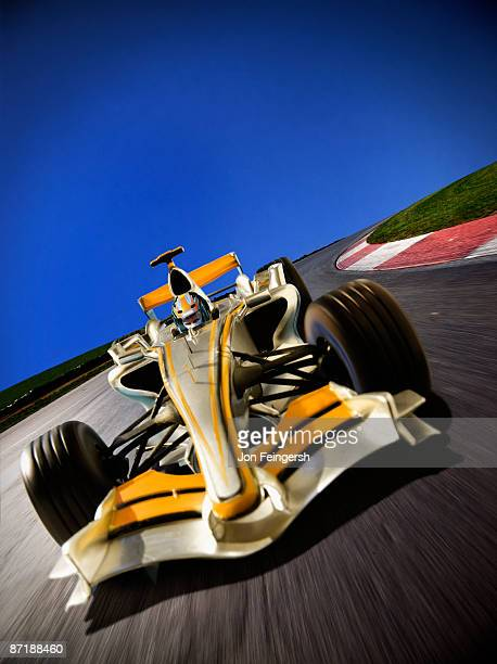 Formula 1 car rounding a turn