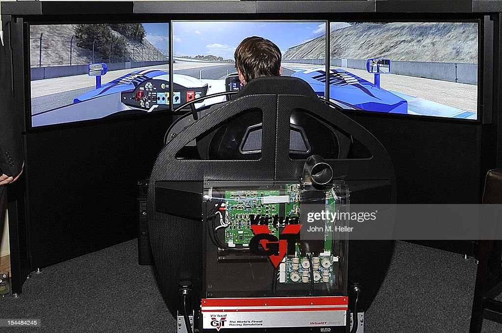A Formula 1 Car simulator was on display at the opening of AutoConcierge on October 4, 2012 in Los Angeles, California.