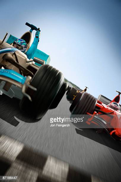 Formula 1 cars quickly approaching finish-line
