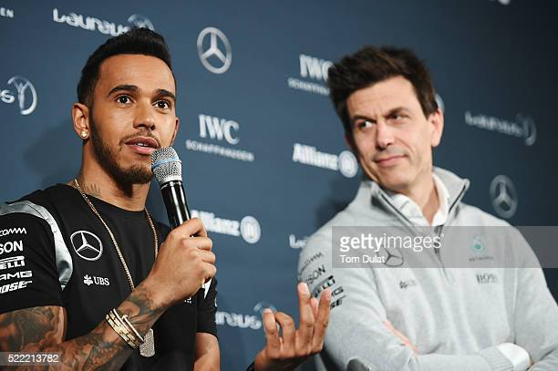 Formula 1 driver Lewis Hamilton of Great Britain and Mercedes speaks to the press with Toto Wolff Head of MercedesBenz Motorsport prior to the 2016...
