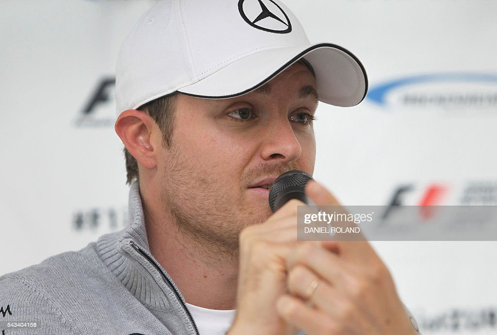 Formula 1 driver Nico Rosberg addresses the media during the Hockenheim-Ring Media Day at the race track in Hockenheim, Germany, on June 28, 2016. / AFP / DANIEL
