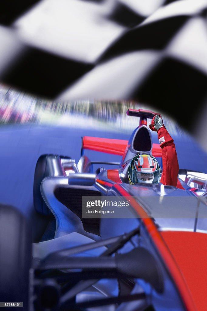 Formula 1 driver winning a race : Stock Photo