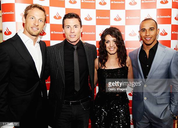 Formula 1 drivers Lewis Hamilton and Jenson Button with world superbike champion James Toseland and singer Katie Melua at the Santander launches...