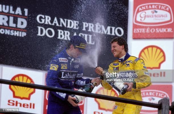 Formula 1 Grand Prix in Sao Paulo Brazil on March 28 1993Michael Schumacher and Damon Hill