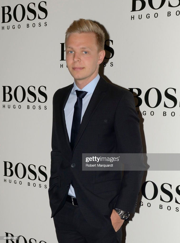 Formula 1 McLaren Mercedes driver <a gi-track='captionPersonalityLinkClicked' href=/galleries/search?phrase=Kevin+Magnussen&family=editorial&specificpeople=7882003 ng-click='$event.stopPropagation()'>Kevin Magnussen</a> attends a photocall at the 'Hugo Boss' store on May 8, 2014 in Barcelona, Spain.