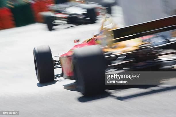 Formula 1 racing cars on a corner..