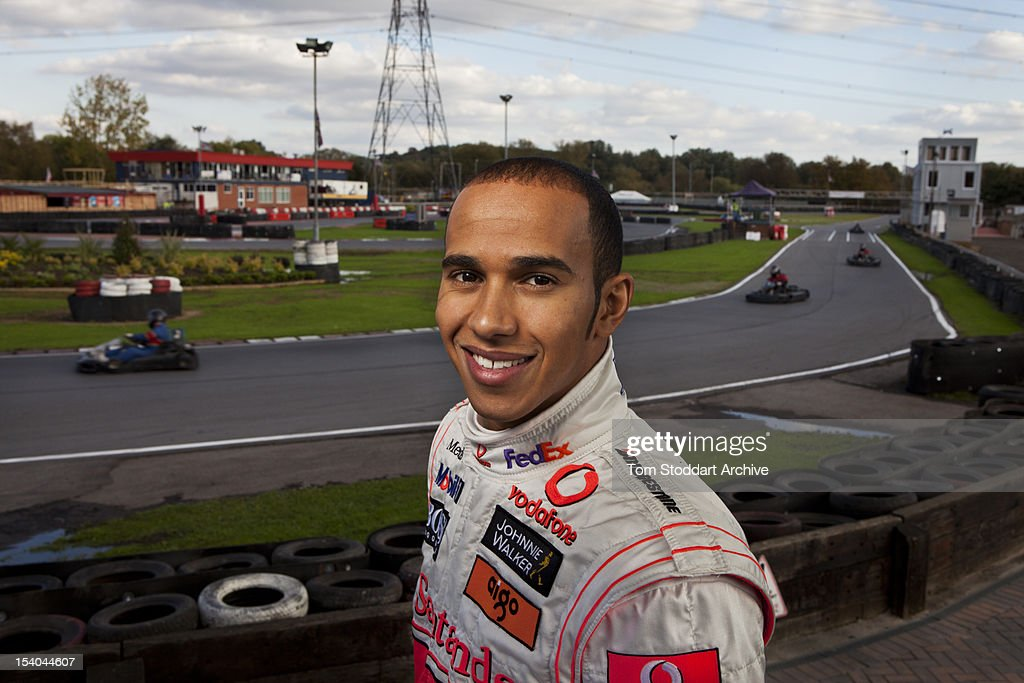 Formula 1 racing driver <a gi-track='captionPersonalityLinkClicked' href=/galleries/search?phrase=Lewis+Hamilton+-+Racecar+Driver&family=editorial&specificpeople=586983 ng-click='$event.stopPropagation()'>Lewis Hamilton</a> photographed at Rye House kart track at Hoddesdon, Hertfordshire. The 2008 Formula One World Champion began his career at Rye House at the age of 7 when he competed in an old kart given to him as a Christmas present by his father, Anthony.