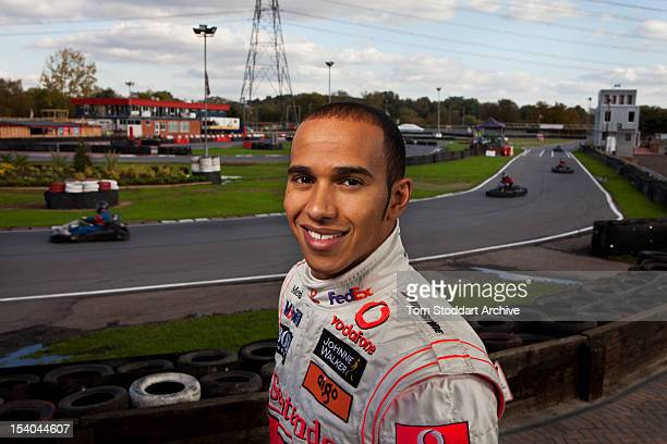 Formula 1 racing driver Lewis Hamilton photographed at Rye House kart track at Hoddesdon Hertfordshire The 2008 Formula One World Champion began his...