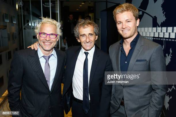Formula 1 Word Champions Nico Rosberg Alain Prost and Jacques Villeneuve attend the FIA Hall of Fame Induction ceremony at Automobile Club De France...