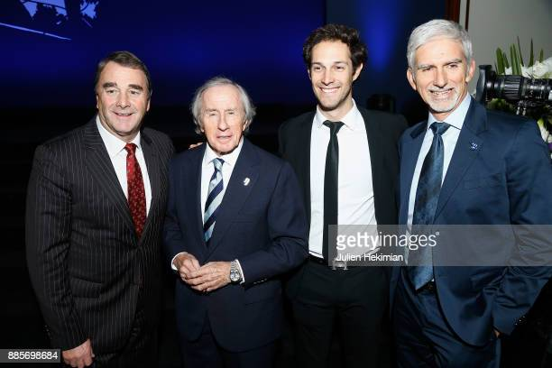 Formula 1 Word Champions Nigel Mansell Jackie Stewart Damon Hill and Ayrton Senna nephew Bruno Senna attend the FIA Hall of Fame Induction ceremony...