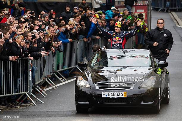 Formula 1 World Champion Sebastian Vettel waves to spectators during the showrun on December 1 2012 in Graz Austria