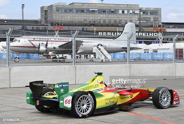 Formula E Audi Sport ABT's driver Daniel Abt steers his car during the qualifying session of the 2015 Fia Formula E Berlin championships in Berlin on...
