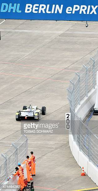 A Formula E car is pictured during a practice session of the 2015 Fia Formula E Berlin championships in Berlin on May 23 2015 AFP PHOTO / TOBIAS...