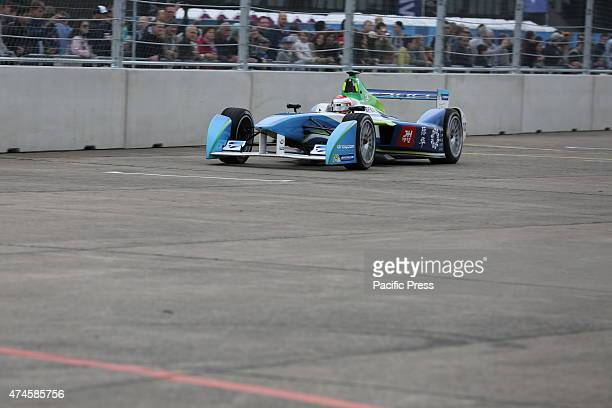 Formula E racing car on the racetrack on the Tempelhof field in Berlin