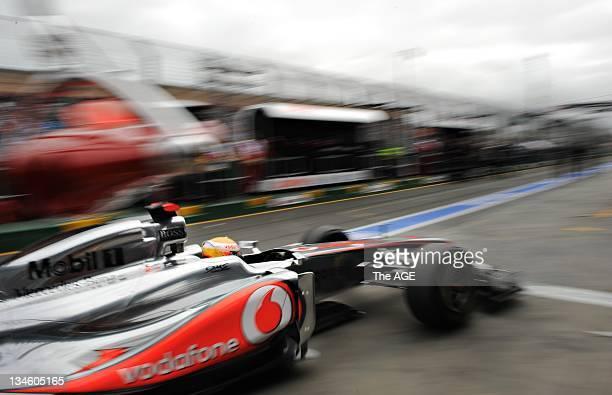 2011 Formula One 1 Grand Prix at Albert Park Melbourne McLaren Mercedes driver Lewis Hamilton during Pit Stop at Practice