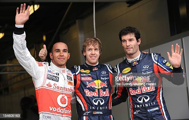 2011 Formula One 1 Grand Prix at Albert Park Melbourne Red Bull racing driver Sebastian Vettel after being top qualifier ahead of Lewis Hamilton and...