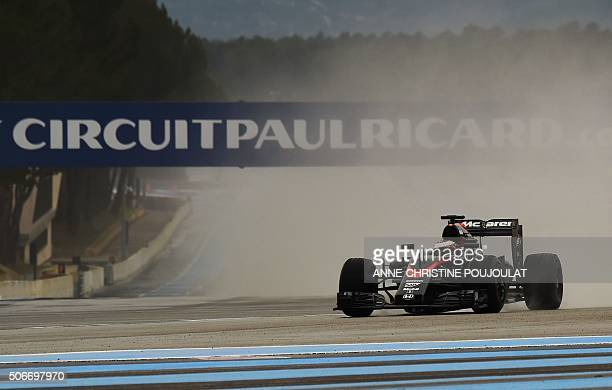 Formula one Belgian driver Stoffel Vandoorne steers his McLaren during a practice session with rain tyres on January 25 2016 at the Paul Ricard...