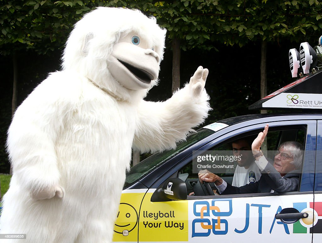 Formula One Boss Bernie Ecclestone poses with The Lost Yeti Hunters Christopher Payne and Antonio D'Angelo and a Yeti to promote the start of the race which will see the team race to Mongolia in a second hand Skoda Fabia during the Mongol Rally Launch on July 16, 2015 in London, England.