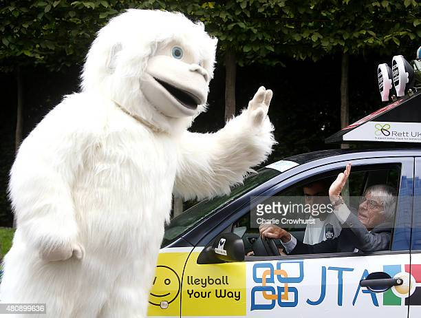 Formula One Boss Bernie Ecclestone poses with The Lost Yeti Hunters Christopher Payne and Antonio D'Angelo and a Yeti to promote the start of the...