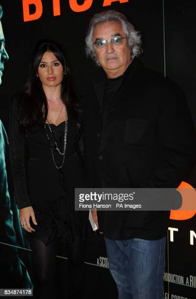 Formula One boss Flavio Briatore and his new wife Elisabetta Gregoraci at the UK film premiere of 'Body of Lies' at the Vue West End in central London