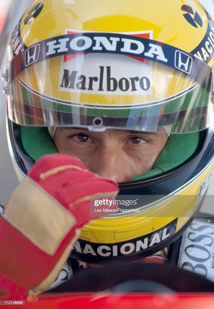 Formula One driver Ayrton Senna (1960-1994) of Brazil pictured wearing his custom racing helmet during testing in Jerez, Spain, circa February 1991.