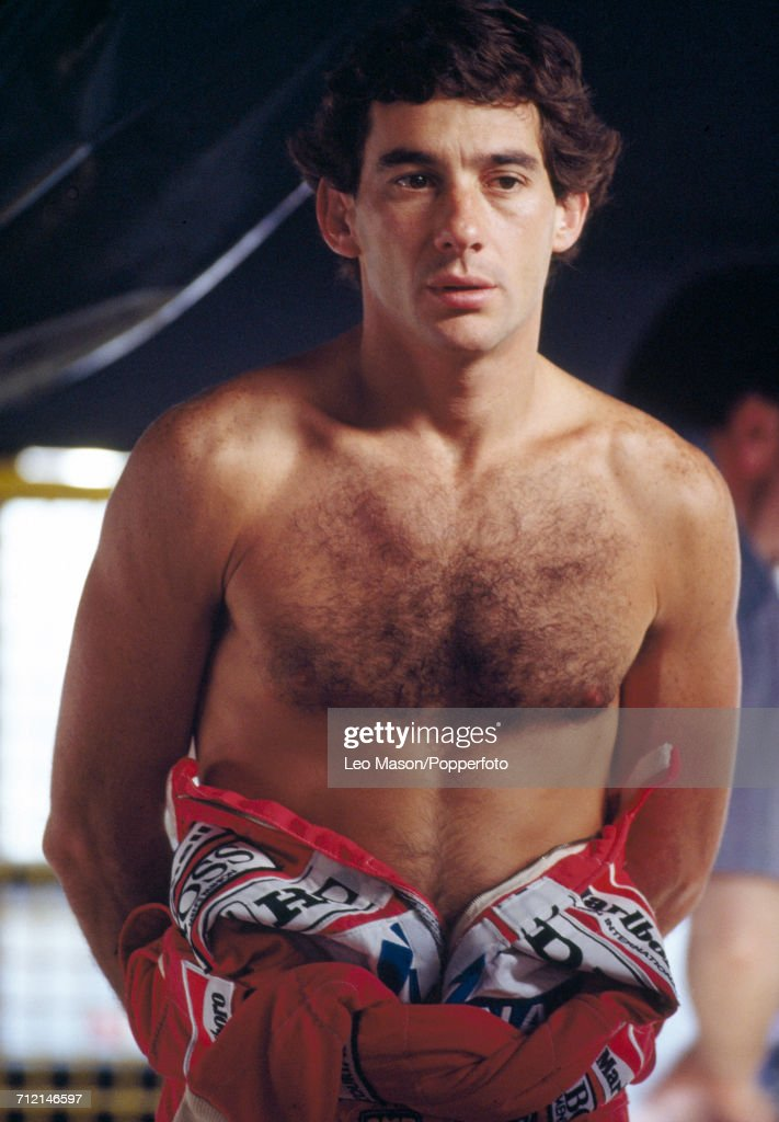 Formula One driver Ayrton Senna (1960-1994) of Brazil posed with a bare chest during testing in Jerez, Spain, circa February 1991.